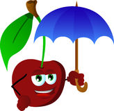 Cherry with umbrella Royalty Free Stock Images