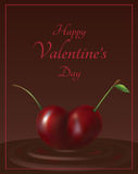 Cherry valentine card Royalty Free Stock Images