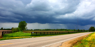 Cherry Valley Illinois Severe Weather. Heavy spring rains sweep over agricultural fields outside the village of Cherry Valley Illinois Stock Images