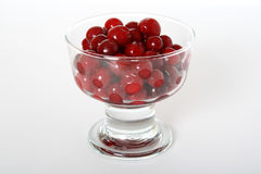 Cherry in a vase. The ripe, large, frozen cherry in a glass vase Royalty Free Stock Photography