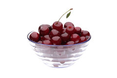 Cherry in vase. On white background Royalty Free Stock Photos