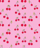 Cherry Vector Pattern tiré par la main Conception infantile abstraite Fond rose audacieux Couleurs grasses illustration de vecteur