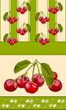 Cherry wallpaper. Repeating pattern of cherry fruit on the pages for wallpaper, a group of cherries stock illustration