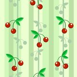 Cherry Wallpaper Texture Pattern. Cherries red and green wallpaper seamless repeating texture pattern, vector illustration color, square background Royalty Free Stock Photo