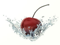 Cherry in water splash on white background Royalty Free Stock Photos