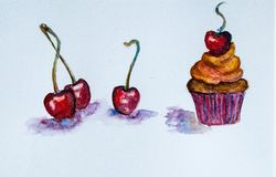 Cherry. Watercolor cherries and cupcake, watercolor hand draw Royalty Free Stock Images