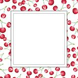 Cherry watercolor frame Stock Photos