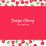 Cherry watercolor illustration, Vector berry border. Fruit design, Hand drawn frame on red background for banner, card Stock Images