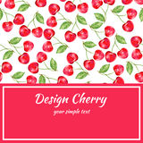 Cherry watercolor illustration, Vector berry border. Fruit design, Hand drawn frame on red background for banner, cards Royalty Free Stock Images