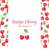 Cherry watercolor illustration, Vector berry border. Fruit design, Hand drawn frame on white background for banner, card Stock Image