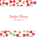 Cherry watercolor illustration, Vector berry border. Fruit design, Hand drawn frame on white background for banner, card royalty free illustration