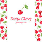 Cherry watercolor illustration, Vector berry border. Fruit design, Hand drawn frame on white background for banner, card, invitati Royalty Free Stock Images