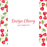 Cherry watercolor illustration, Vector berry border. Fruit design, Hand drawn frame on white background for banner, card Royalty Free Stock Images