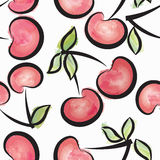 Cherry watercolor seamless pattern. Juicy berries summer background Stock Photos