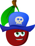 Cherry wearing pirate hat Royalty Free Stock Photo
