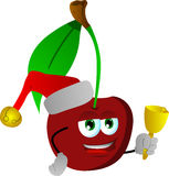 Cherry wearing Santa's hat and playing bell Royalty Free Stock Photos