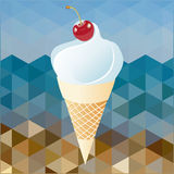 Cherry and whipped cream. On abstract background beach Stock Image