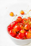 Cherry  on white background. Agriculture. Close-up. Top view Royalty Free Stock Photo