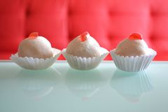 Cherry white cookie sweets royalty free stock images