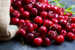 Cherry on wood Royalty Free Stock Images