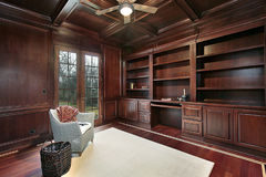 Cherry wood paneling library. Luxury library in cherry wood paneling Royalty Free Stock Image