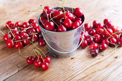 Cherry on wooden board Stock Photography