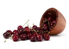 Cherry in wooden bowl Stock Photo