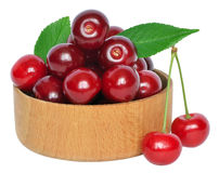 Cherry on wooden bowl Royalty Free Stock Photo