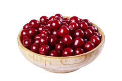 Cherry in a wooden bowl Stock Photos