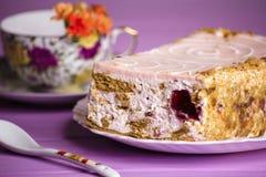 Cherry yoghurt cake Stock Photo