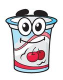 Cherry yoghurt, milk or cream cartoon character. Cherry yoghurt, milk or cream happy cute cartoon style plastic package character for fresh food design Royalty Free Stock Photo
