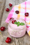 Cherry yogurt and cherry Stock Images