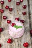 Cherry yogurt and cherry Stock Photos