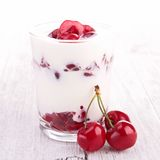 Cherry yogurt Stock Image