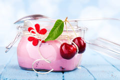 Cherry Yogurt Dessert Royalty Free Stock Photography