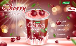 Cherry yogurt isolated on red bokeh background. Yogurt container package ad. 3d realistic ripe cherry Vector stock illustration