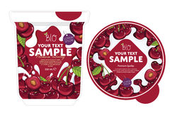 Cherry Yogurt Packaging Design Template. Stock Images