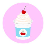 Cherry yogurt in plastic cup. Milk cream product. Flat style. Royalty Free Stock Image