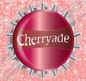 Cherryade Bottle Cap With Bubbles Royalty Free Stock Photos