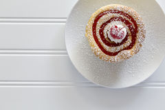 Cherryberry Cheesecake on white. Cheesecake with cherry on top on a white background Stock Photo