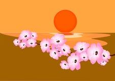 Cherryblomning stock illustrationer
