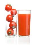 Cherryexponeringsglas inom tomater Fotografering för Bildbyråer