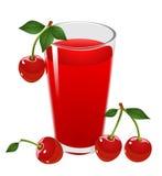Cherryfruktsaft och Cherry. Vektorillustration. Arkivbild