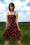Cherryklänning Fotografering för Bildbyråer