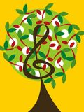 Cherrymusik bemärker treen stock illustrationer