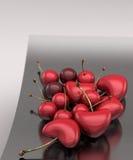 Cherrys Heart. Illustration 3d: cherrys heart in steel vase Royalty Free Stock Photo