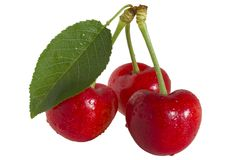 Cherrys and leaf Stock Photos
