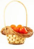 Cherrytomater i en korg Royaltyfri Bild