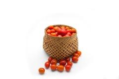 Cherrytomater i korg Arkivbild