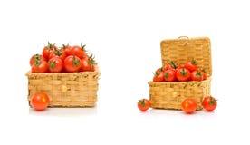 Cherrytomater som isoleras på vit bakgrund Fotografering för Bildbyråer